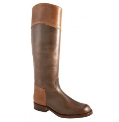 Botas camperas marron piel bicolor