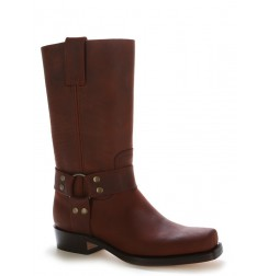 Bota motera piel marron ribeteada