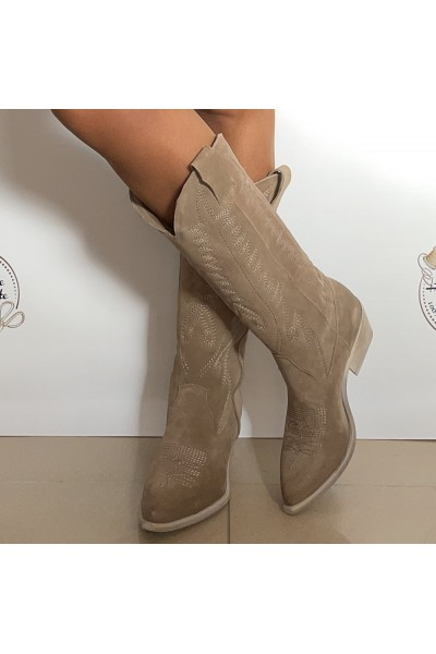 Botas cowboy mujer color ante taupe beige